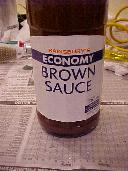 Bottle of brown source.